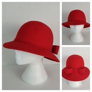 Vintage Red Wool Hat with Gold Embellished Bow